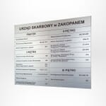 Tablice informacyjne ścienne aluminiowe